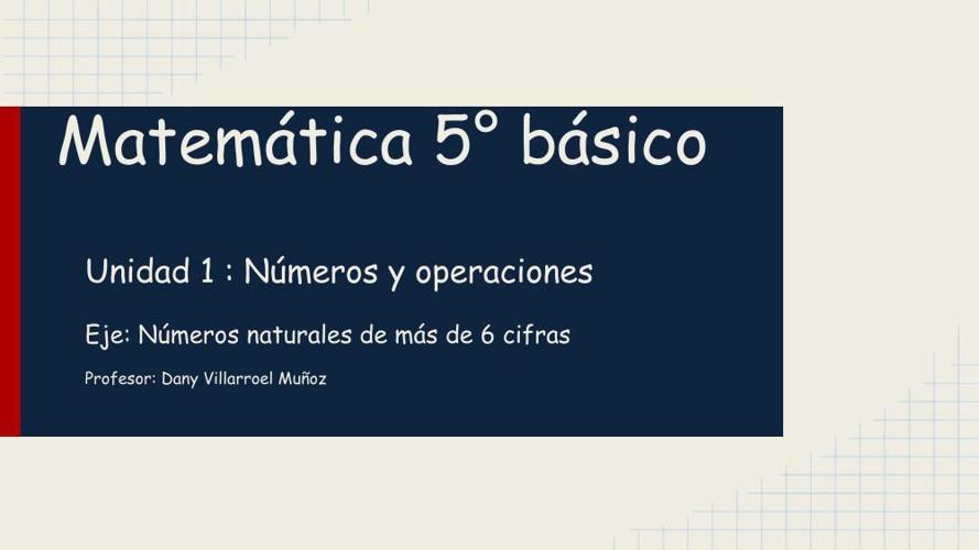 Presentación Matemática 5° básico números y operaciones Dany Vil