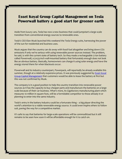 Tesla Powerwall battery a good start for greener earth