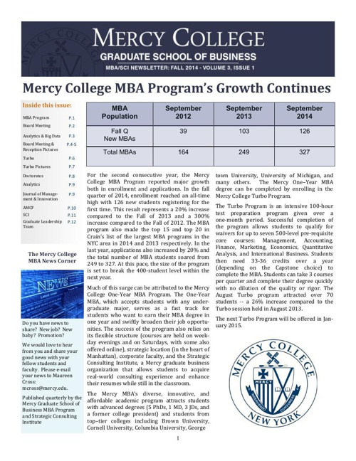 MBA Fall Newsletter