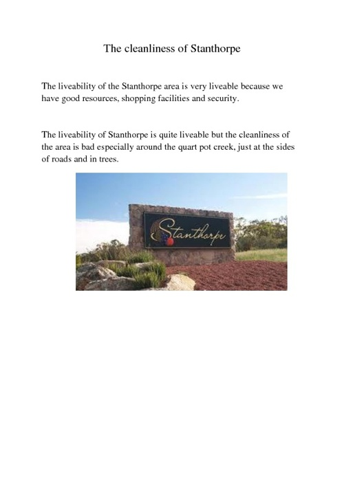 The liveability of Stanthorpe