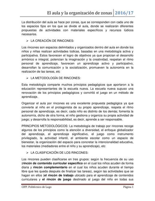 El aula y la organización de zonas, Laura López, Laura Martínez