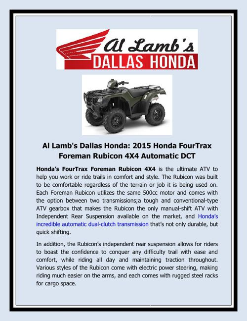Al Lamb's Dallas Honda - 2015 Honda FourTrax Foreman Rubicon 4X4