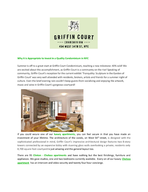 Why it is Appropriate to Invest in a Quality Condominium in NYC