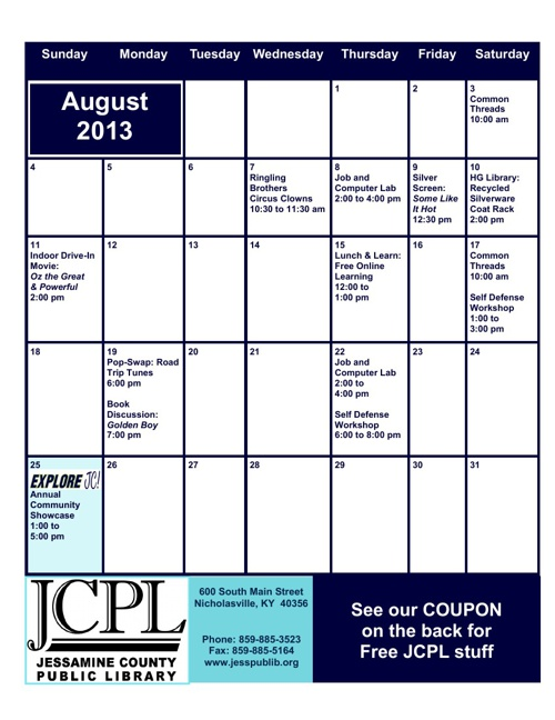 JCPL August Calendar Insert