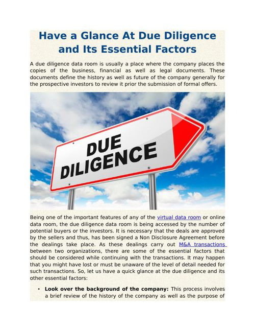 Have a Glance At Due Diligence and Its Essential Factors