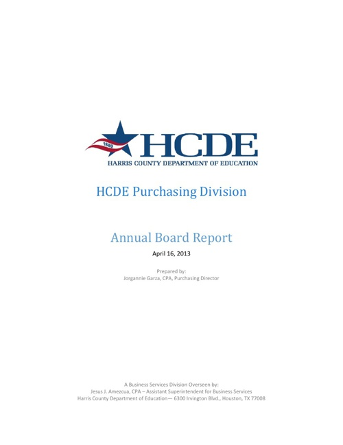Purchasing Annual Board Report 2013