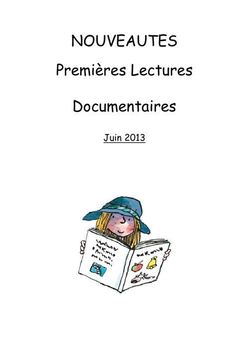 Premières lectures juin2013