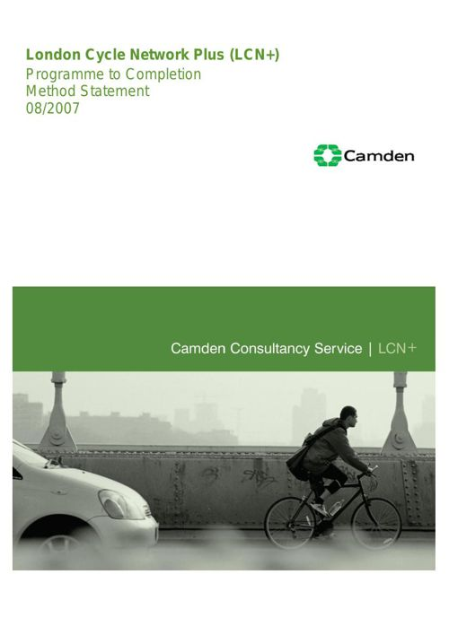 Method Statement for London Cycle Programme to Completion - 03 A