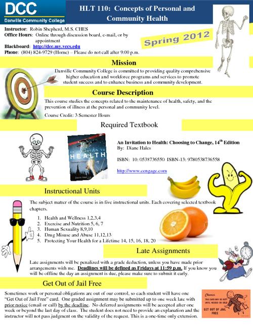 Health 110 Syllabus