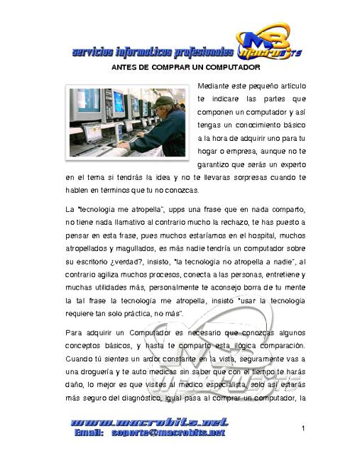 ANTES DE COMRAR UN COMPUTADOR