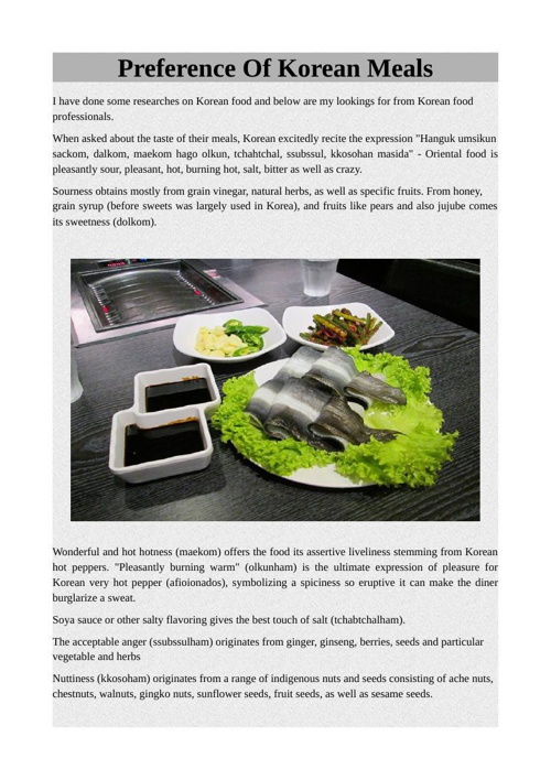 Preference Of Korean Meals
