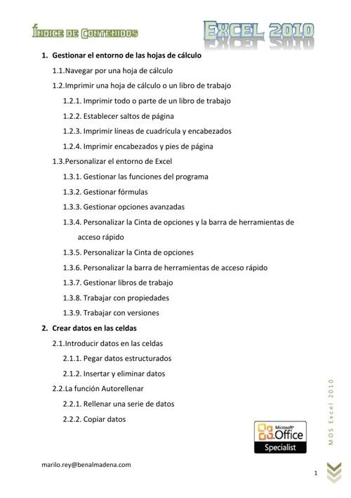 Indice Examen 77-882 Microsoft EXCEL 2010