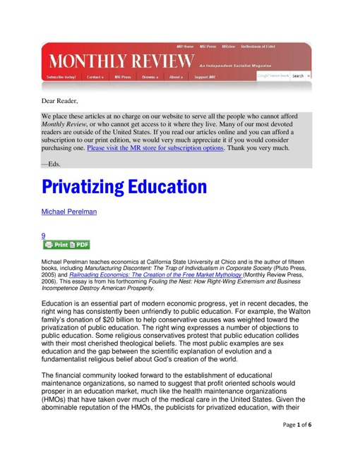 Privatizing Education Monthly Review