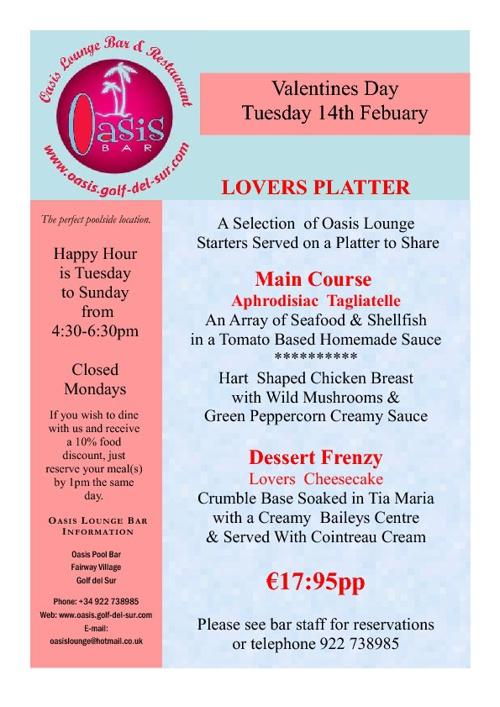 Oasis Lounge Valentines Menu 2012