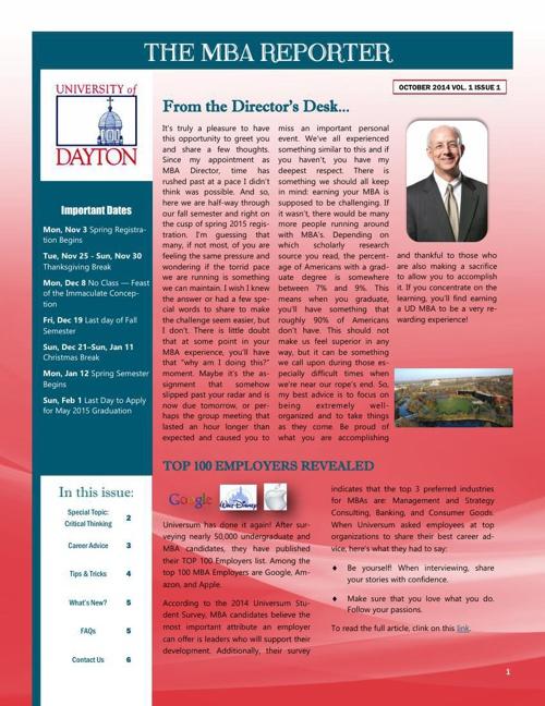 MBA Newsletter October 2014