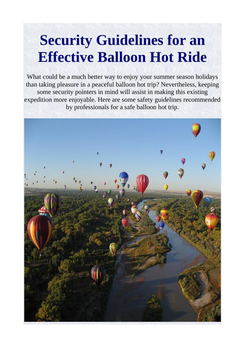 Security Guidelines for an Effective Balloon Hot Ride