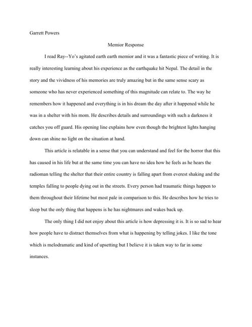 Creative Writing Memior Response