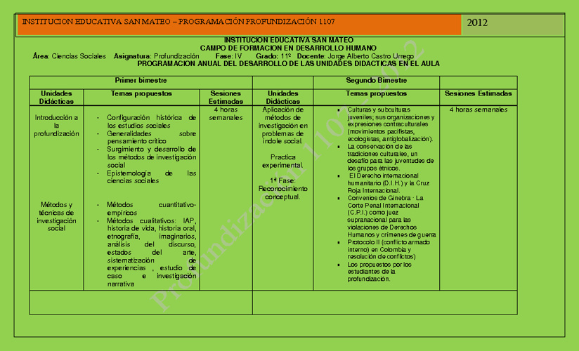 PLAN PROFUNDIZACION 1106 - 2012