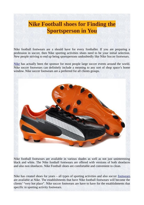 Nike Football shoes for Finding the Sportsperson in You
