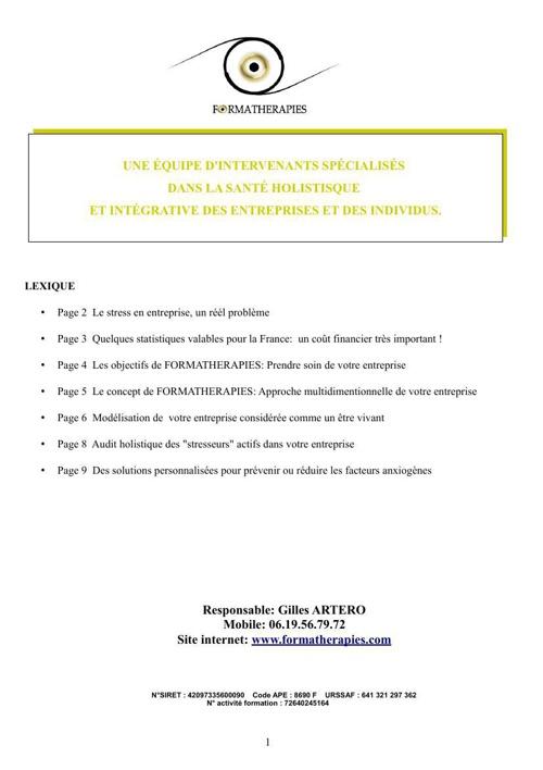 Formatherapies entreprises