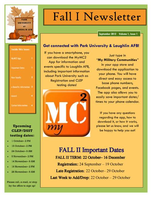 Fall I 2012 Newsletter