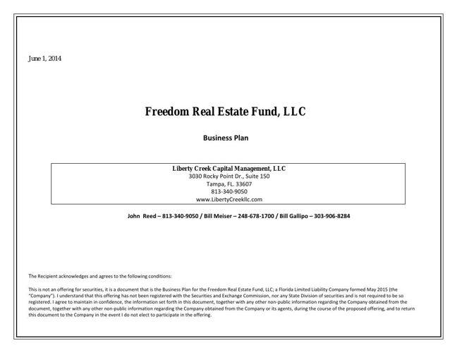 Freedom Real Estate Fund  Business Plan  Landscape Version JUne