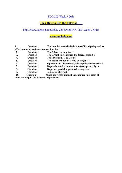 ECO 203 Week 3 Quiz