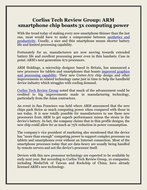 Corliss Tech Review Group: ARM smartphone chip boasts 3x computi