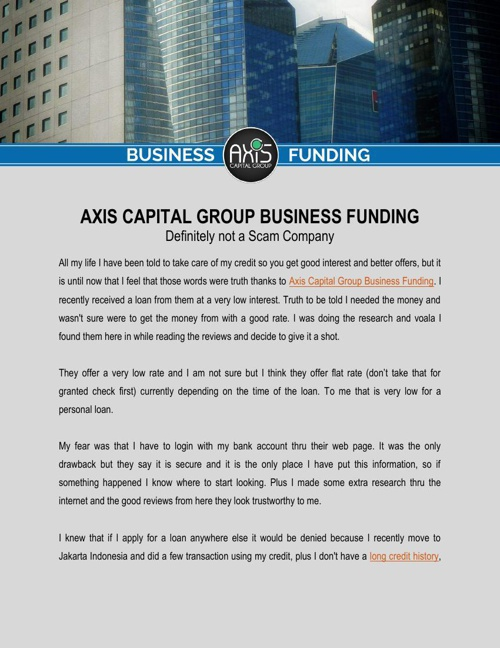 Axis Capital Group Business Funding  is Definitely not a Scam