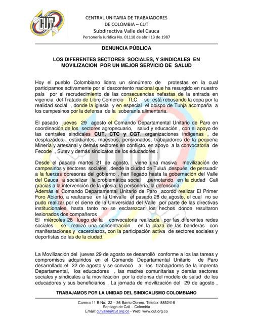 DENUNCIA COMANDO DE PARO