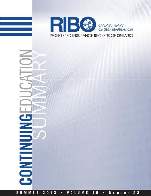 2013 RIBO Continuing Education Summary