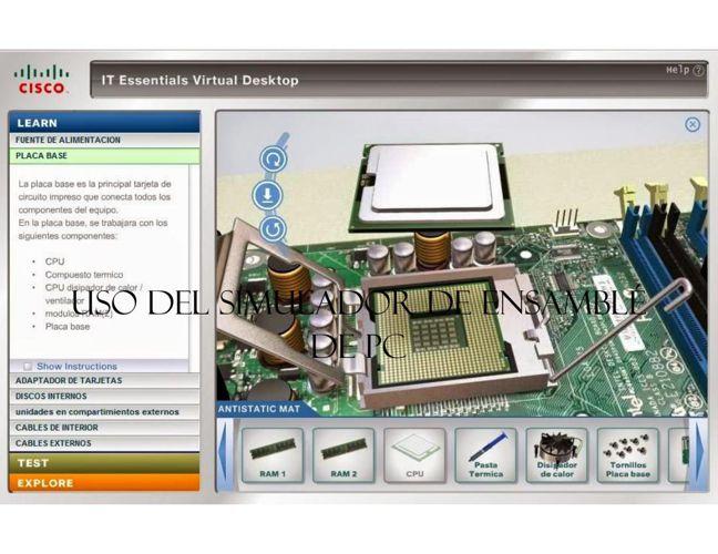 Uso del simulador de ensamblé de pc