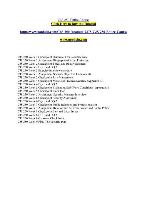 CJS 250 Academic Achievement/uophelp