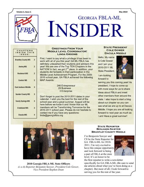 2010-2011 GA FBLA-ML Insider