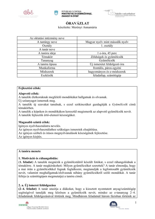 Merényi Annamária - Zöldségek és gyümölcsök - Gyümölcsök