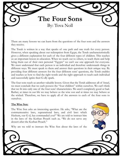 Pesach Booklet - The Four Sons