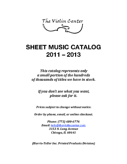 Sheet Music Catalog