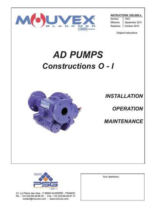 Mouvex AD Installation Operation Maintenance