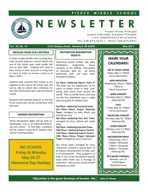 Pierce May 2013 Newsletter