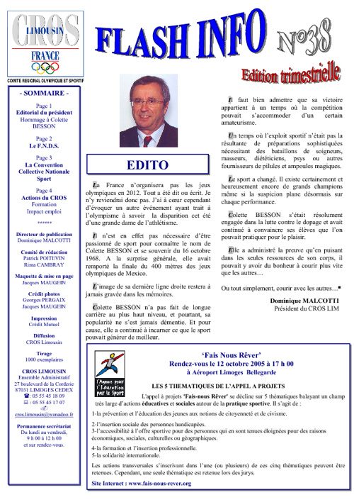 Flash Info N° 38 - Octobre 2005