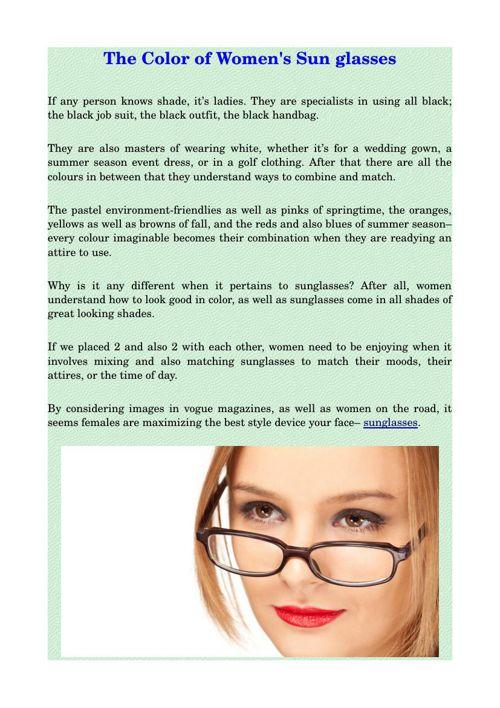 The Color of Women's Sun glasses