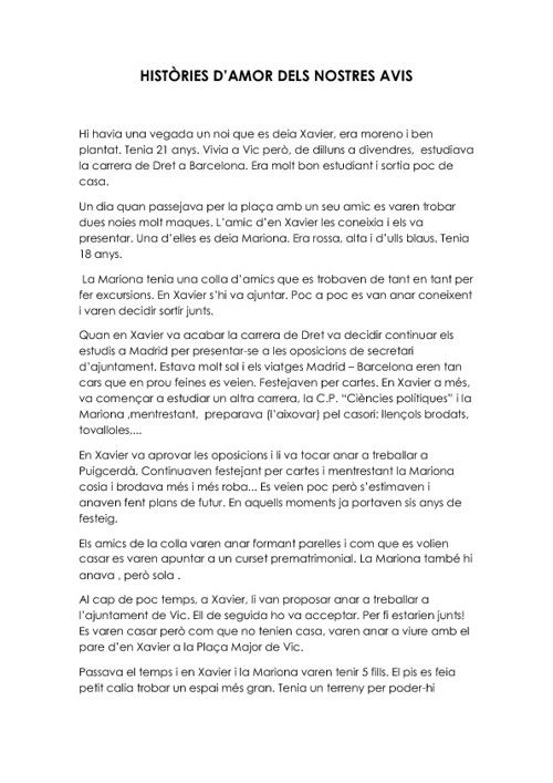 HISTÒRIES D'AMOR DELS NOSTRES AVIS