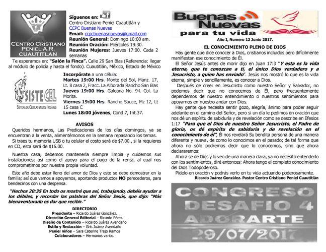 Boletin CCPC Buenas Nuevas del mes de Junio 2017