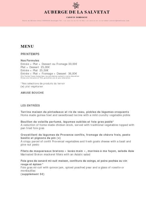 La Salvetat Hotel Dordogne Carte de Printemps