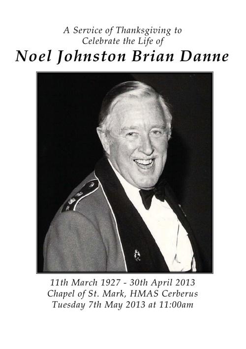 8 Page Order of Service for Noel Danne V1