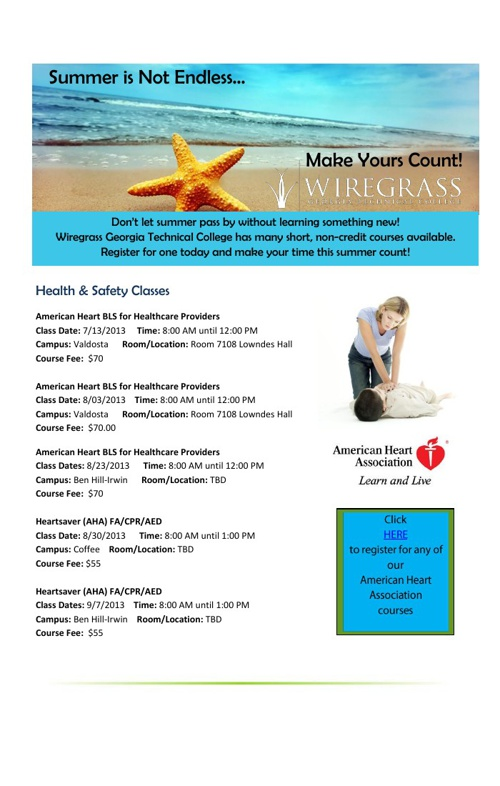 Summer 2013 Continuing Education Course Offerings