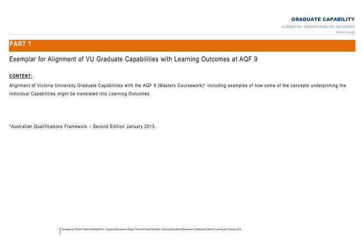 RESOURCE 7 AQF GRAD CAP ALIGNMENT  AQF 9 example
