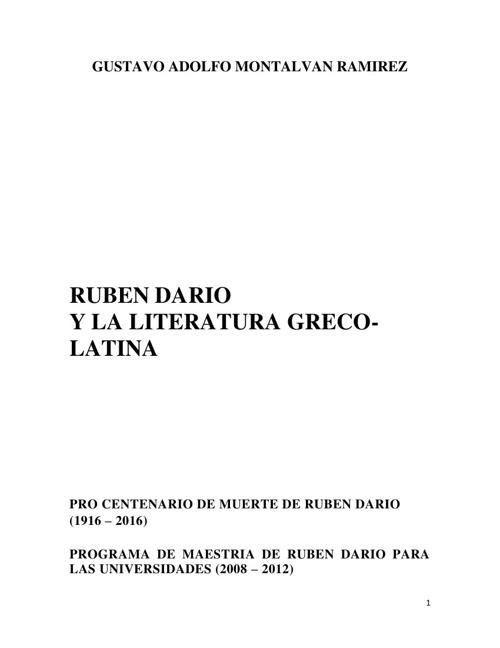 RUBEN DARIO Y LA LITERATURA GRECO-LATINA