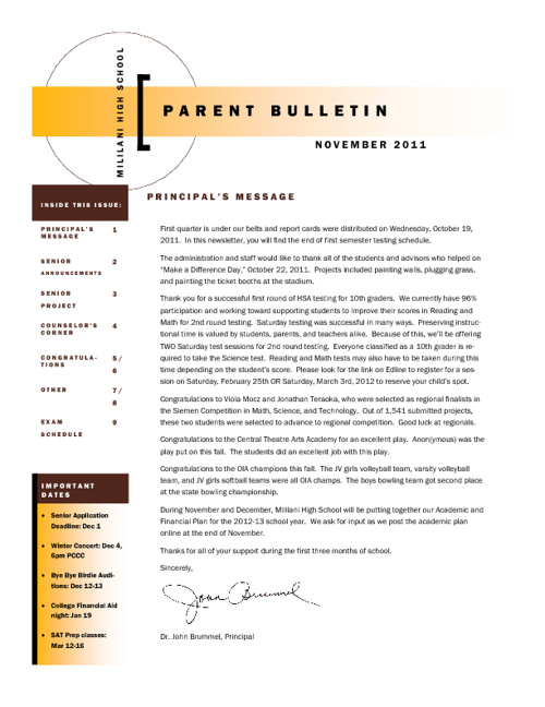 November 2011 Parent Newsletter