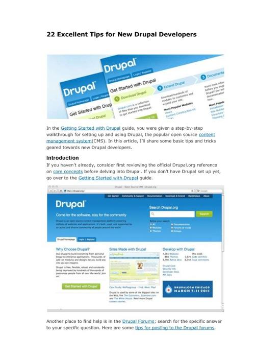 22 Excelents tips for Drupal new developper